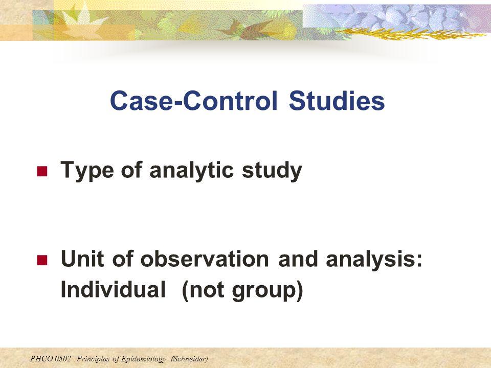 Case-Control Studies Type of analytic study