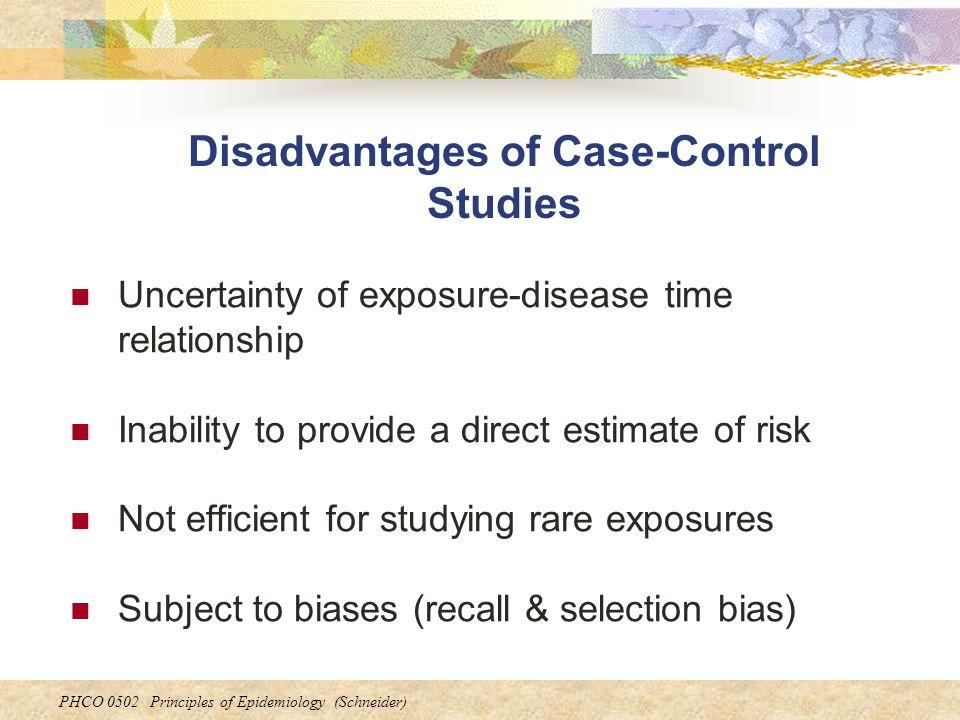 Disadvantages of Case-Control Studies