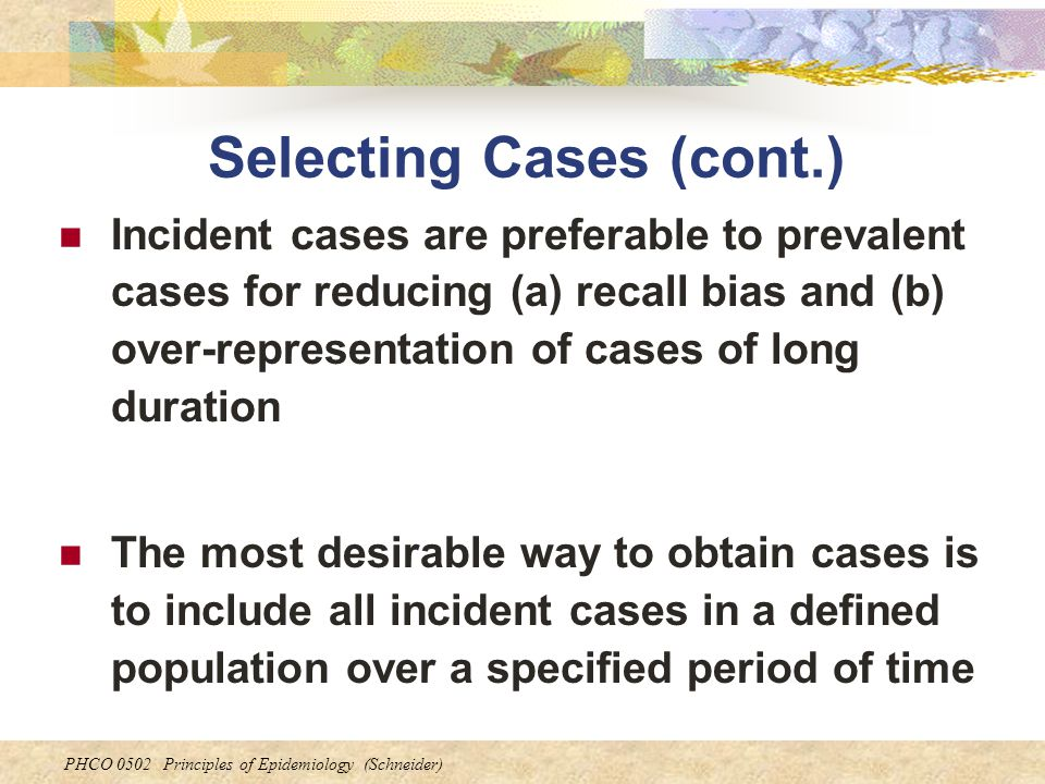 Selecting Cases (cont.)