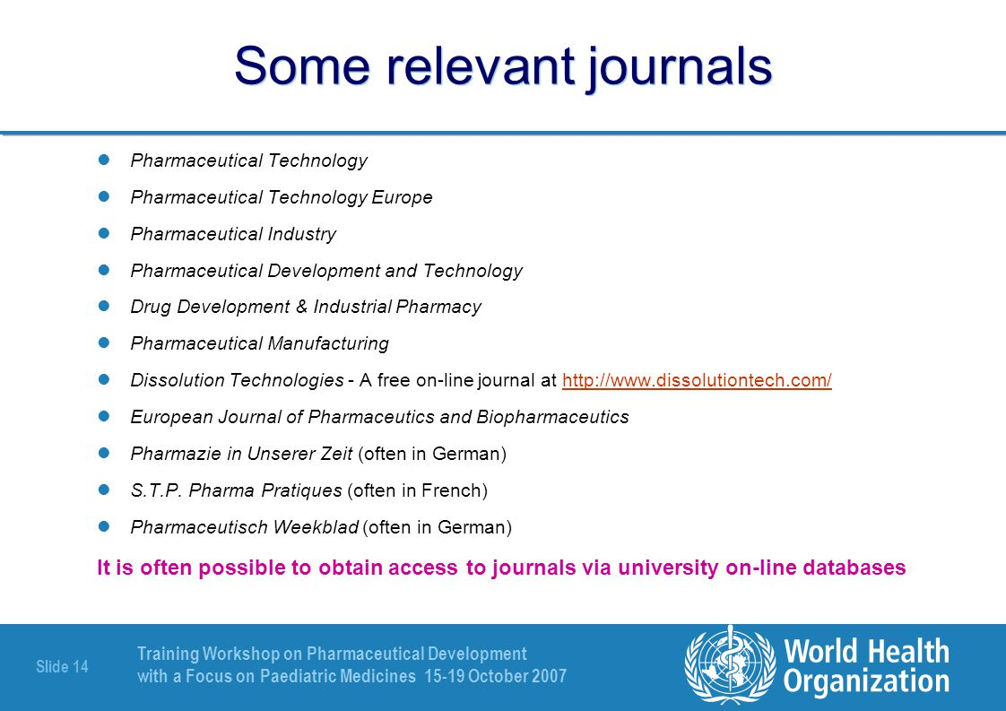 Some relevant journals
