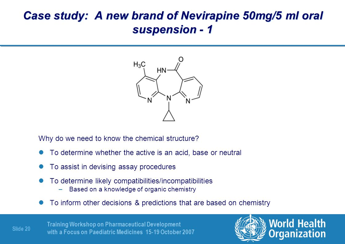 Case study: A new brand of Nevirapine 50mg/5 ml oral suspension - 1