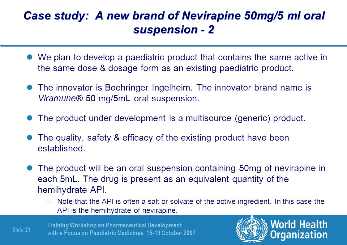 Case study: A new brand of Nevirapine 50mg/5 ml oral suspension - 2