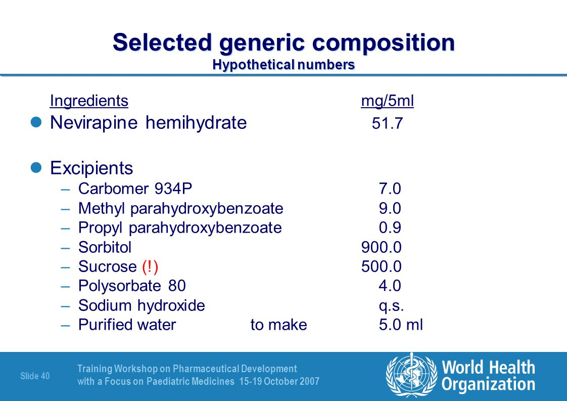 Selected generic composition Hypothetical numbers