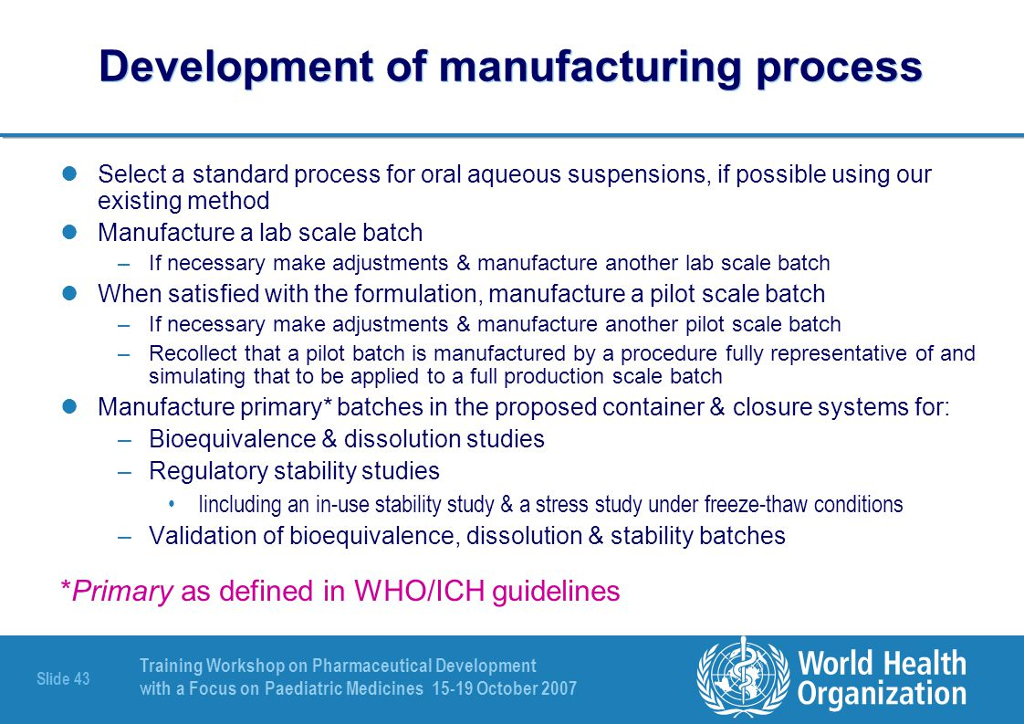Development of manufacturing process