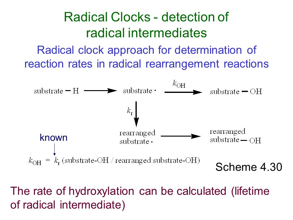 Radical Clocks - detection of radical intermediates