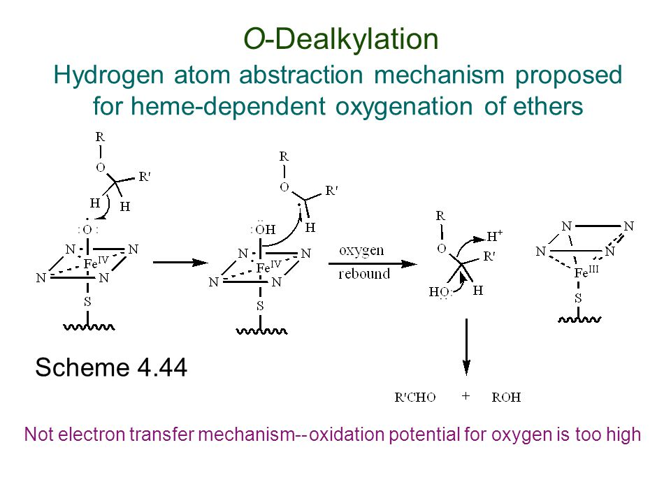 O-Dealkylation Hydrogen atom abstraction mechanism proposed for heme-dependent oxygenation of ethers.