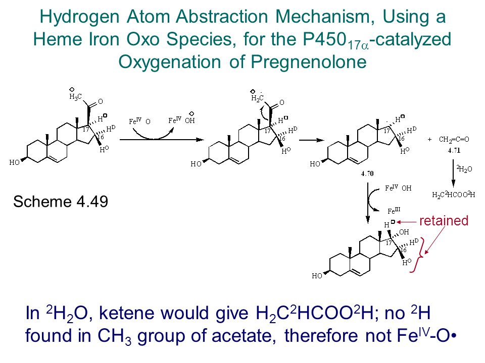 Hydrogen Atom Abstraction Mechanism, Using a Heme Iron Oxo Species, for the P45017-catalyzed Oxygenation of Pregnenolone