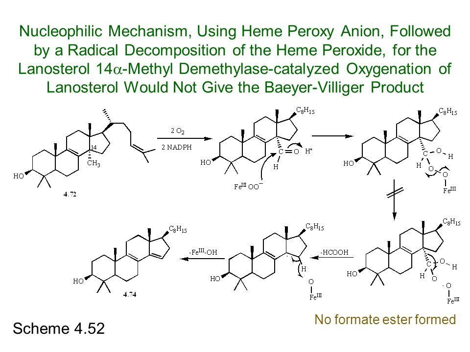 Nucleophilic Mechanism, Using Heme Peroxy Anion, Followed by a Radical Decomposition of the Heme Peroxide, for the Lanosterol 14-Methyl Demethylase-catalyzed Oxygenation of Lanosterol Would Not Give the Baeyer-Villiger Product