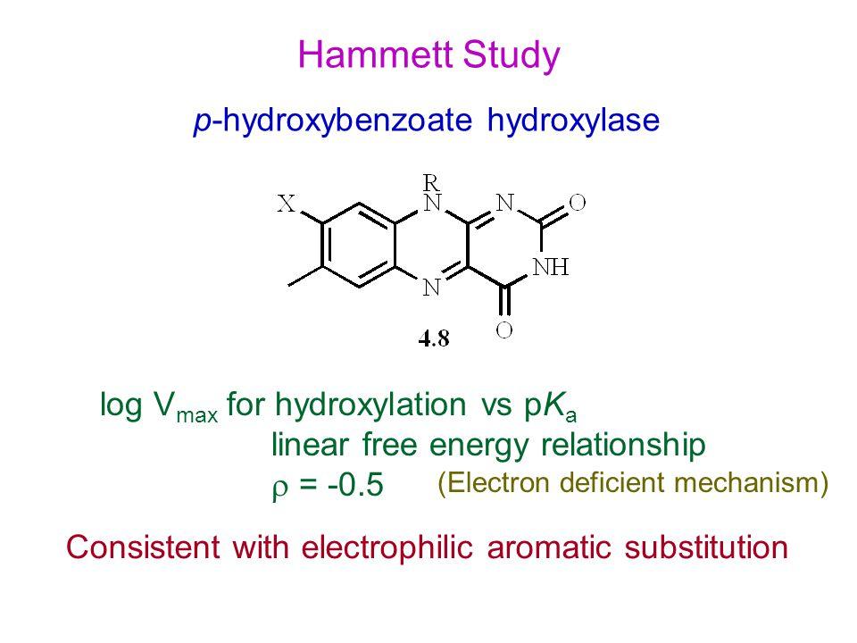 Hammett Study p-hydroxybenzoate hydroxylase