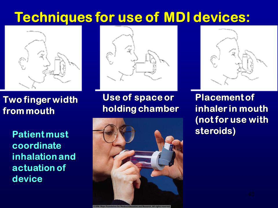 Techniques for use of MDI devices: