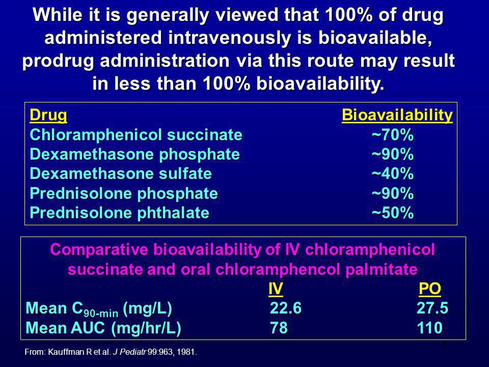 While it is generally viewed that 100% of drug administered intravenously is bioavailable, prodrug administration via this route may result in less than 100% bioavailability.
