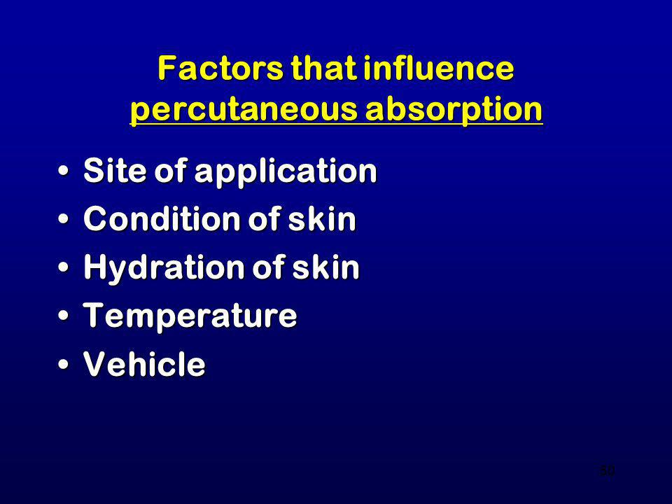 Factors that influence percutaneous absorption