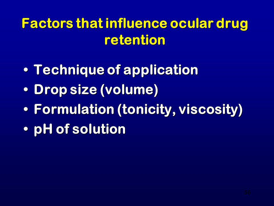 Factors that influence ocular drug retention