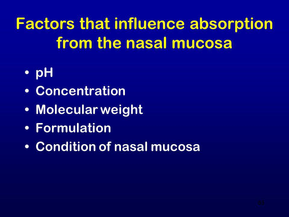 Factors that influence absorption from the nasal mucosa