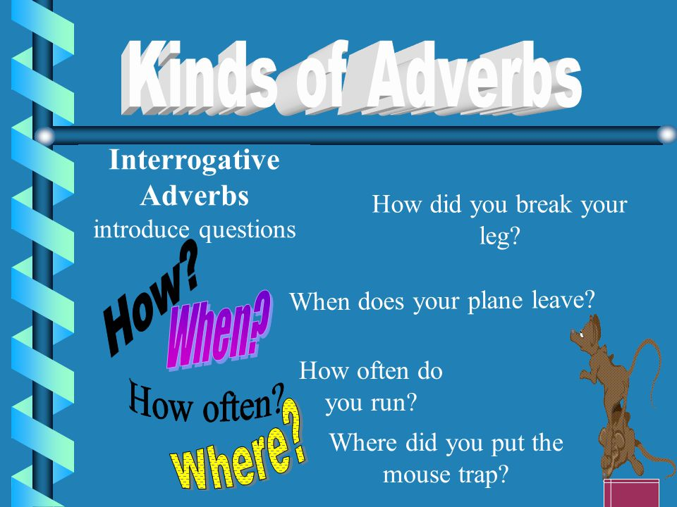 Kinds of Adverbs How When How often Where Interrogative Adverbs