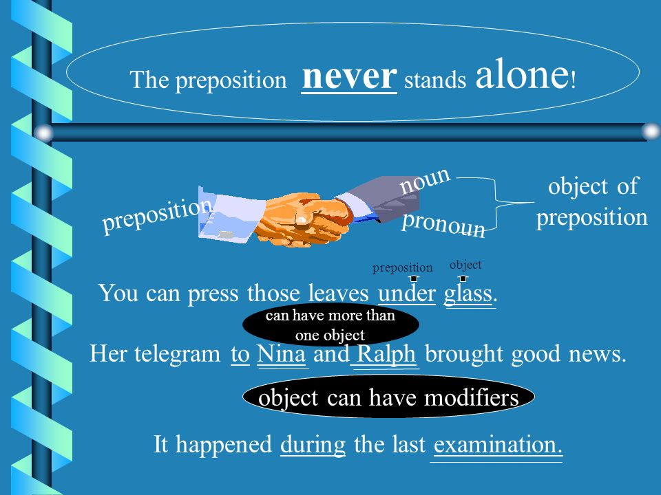 The preposition never stands alone!