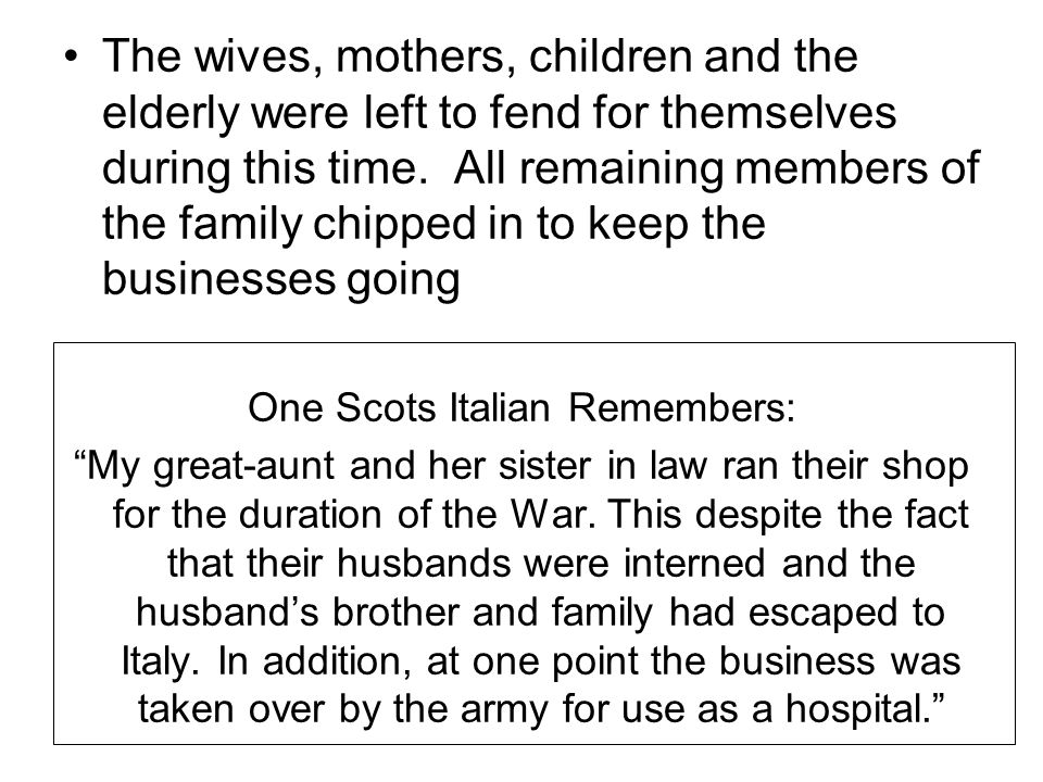 One Scots Italian Remembers: