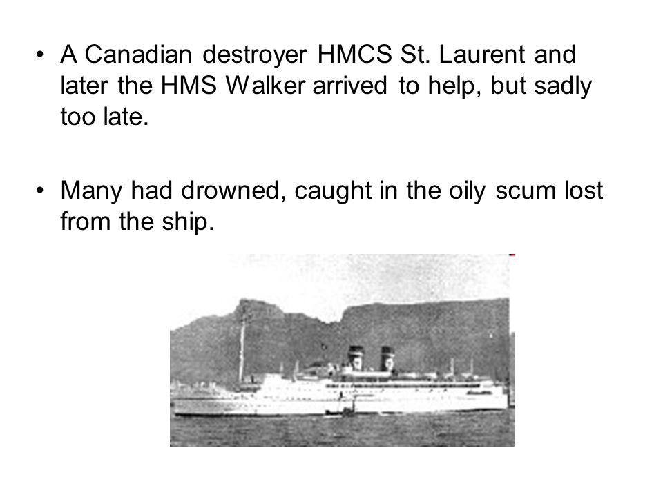 A Canadian destroyer HMCS St