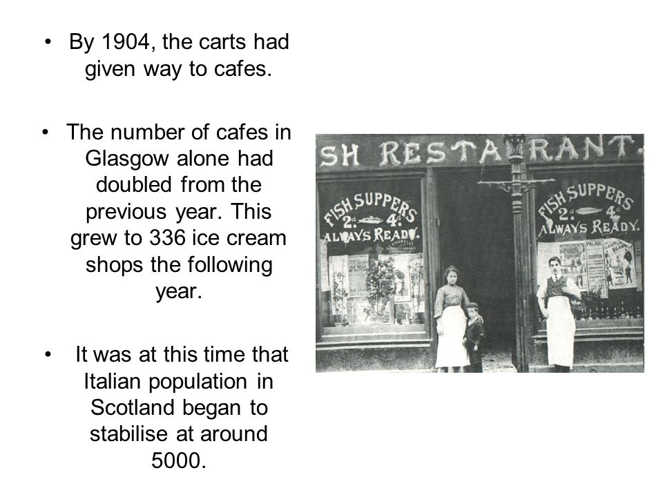 By 1904, the carts had given way to cafes.