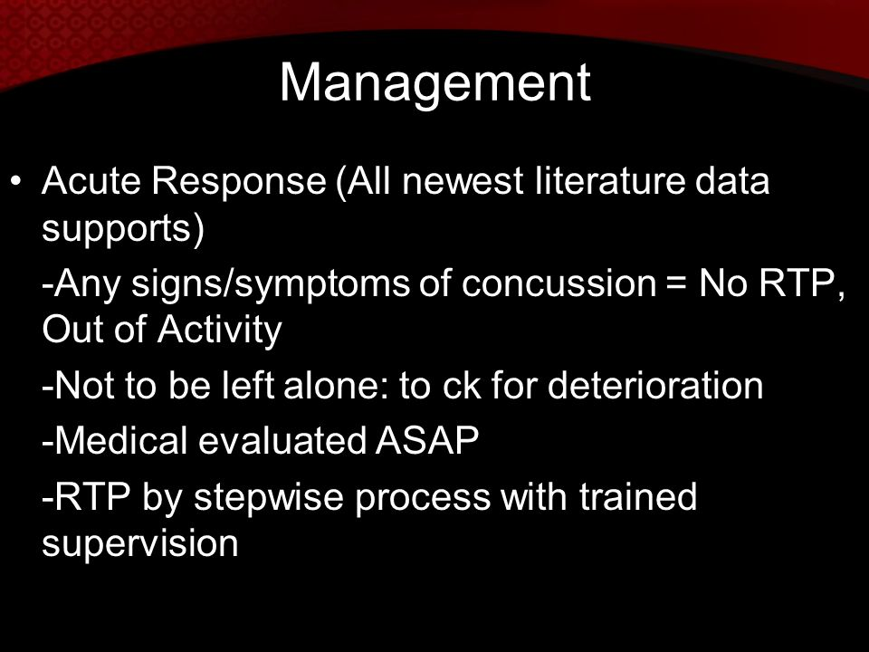 Management Acute Response (All newest literature data supports)