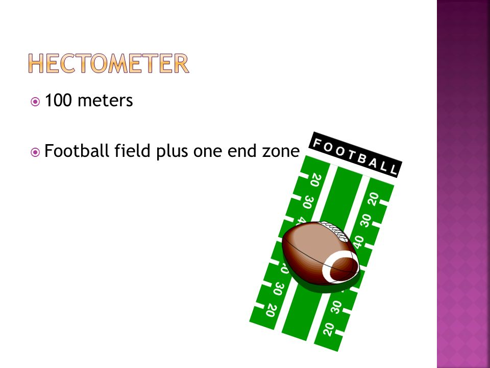 hectometer 100 meters Football field plus one end zone