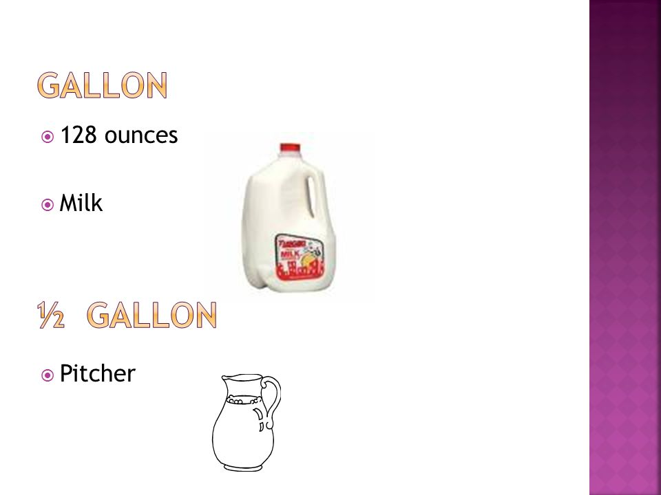 Gallon 128 ounces Milk Pitcher ½ Gallon