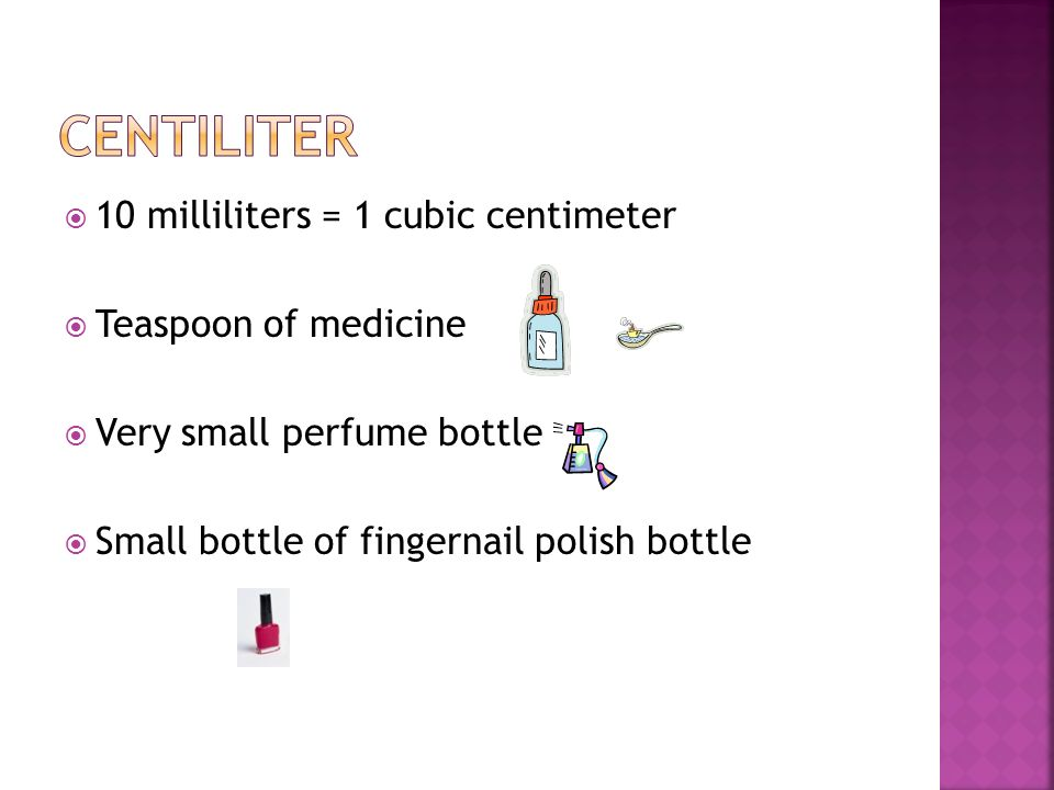 centiliter 10 milliliters = 1 cubic centimeter Teaspoon of medicine