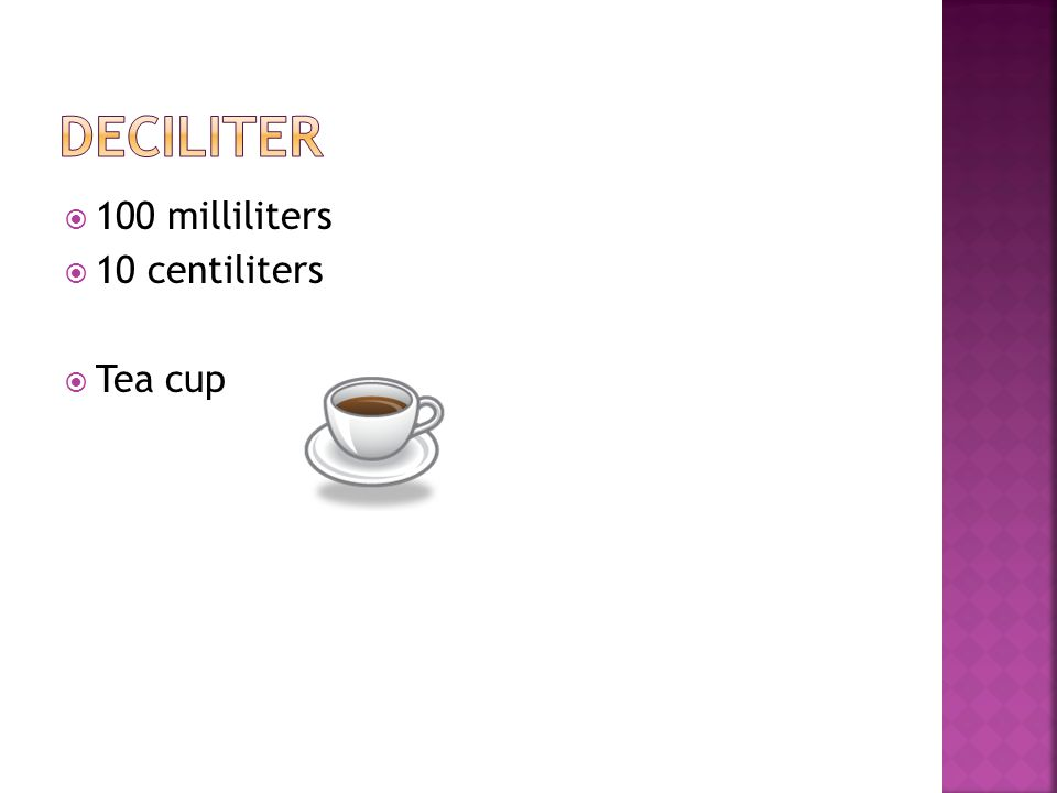deciliter 100 milliliters 10 centiliters Tea cup