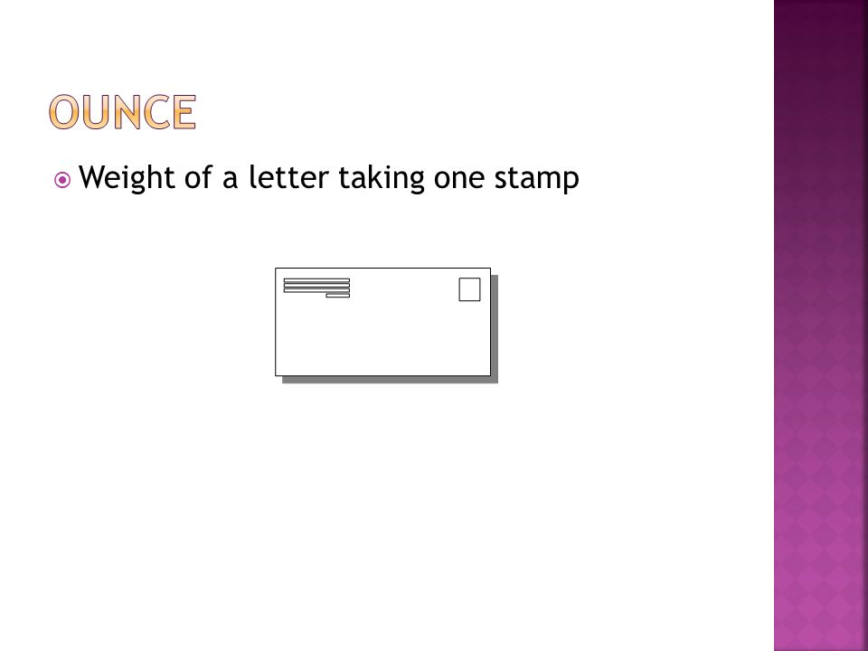 ounce Weight of a letter taking one stamp