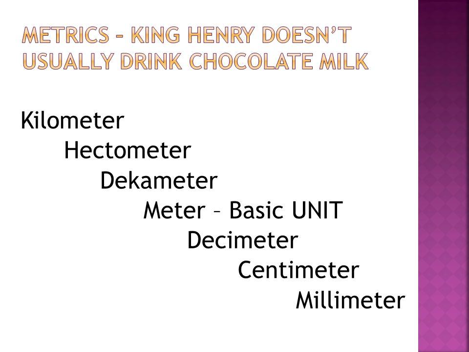Metrics – King Henry doesn't usually drink chocolate milk