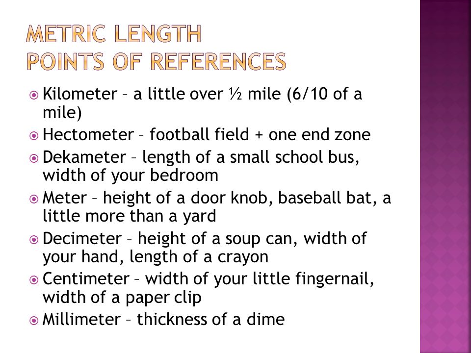Metric Length Points of References
