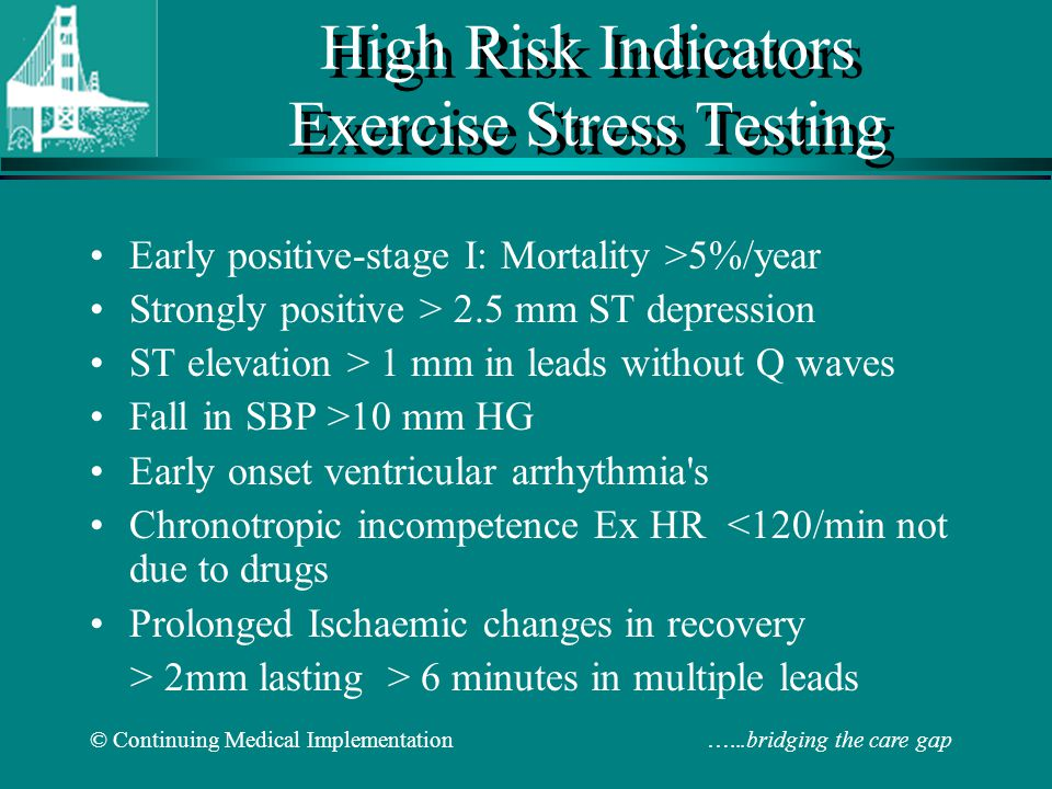 High Risk Indicators Exercise Stress Testing
