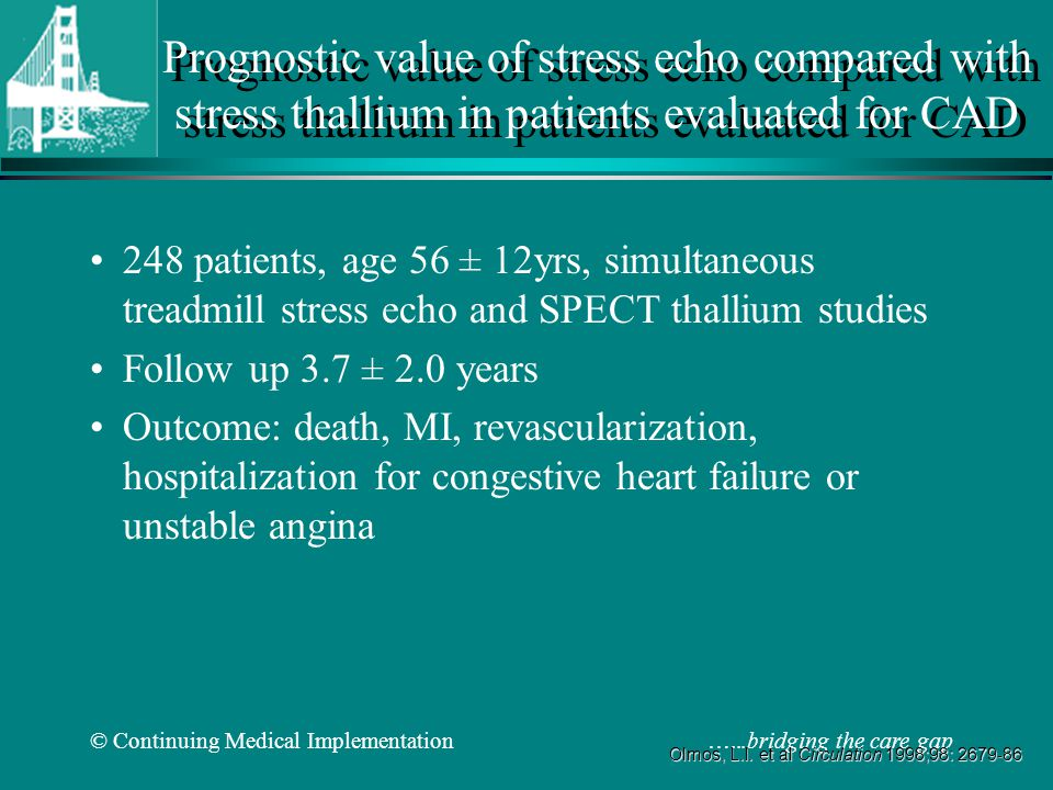 Prognostic value of stress echo compared with stress thallium in patients evaluated for CAD