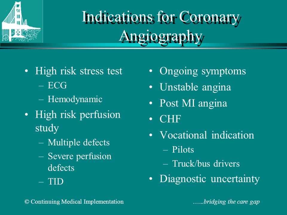 Indications for Coronary Angiography
