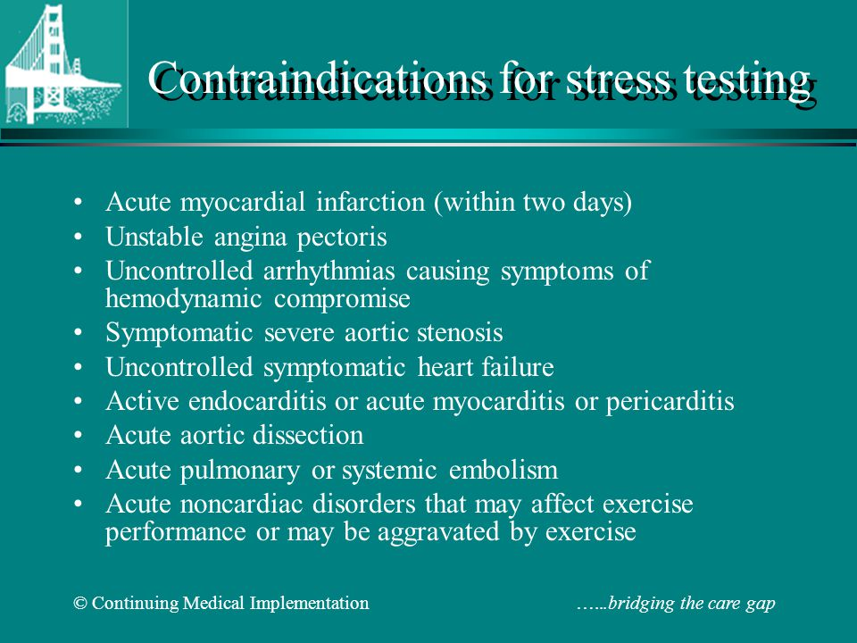 Contraindications for stress testing