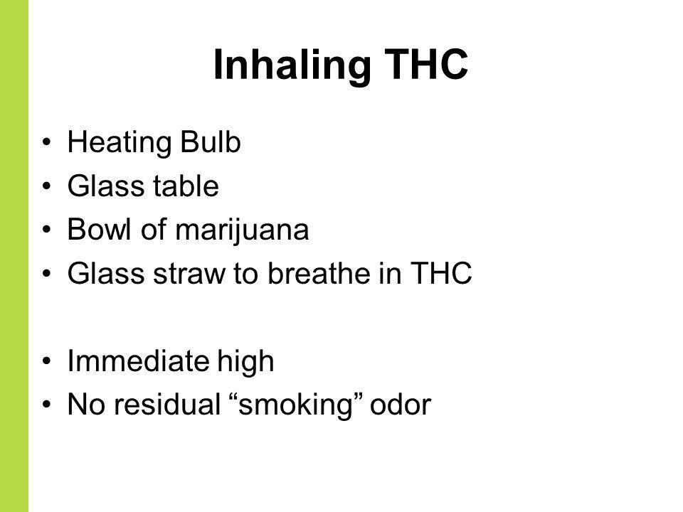 Inhaling THC Heating Bulb Glass table Bowl of marijuana