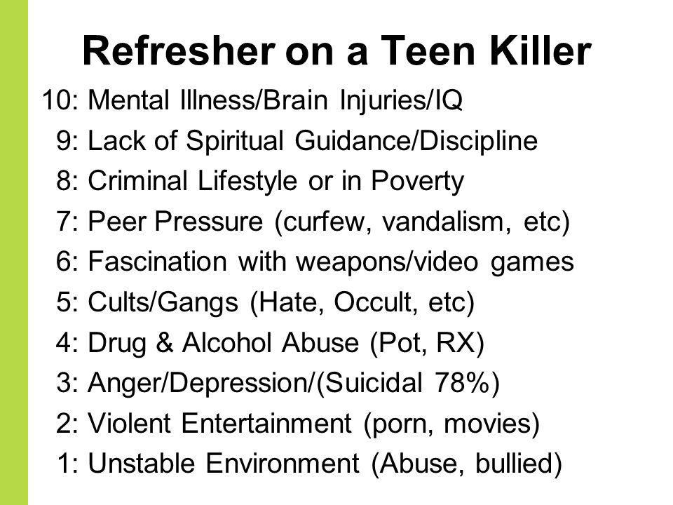 Refresher on a Teen Killer