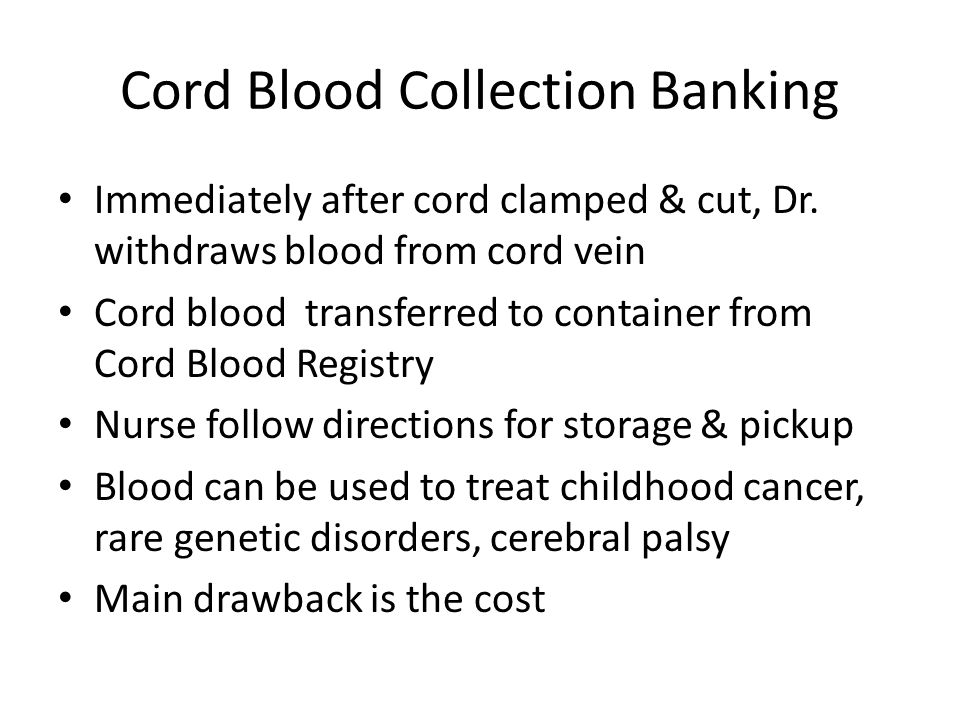 Cord Blood Collection Banking