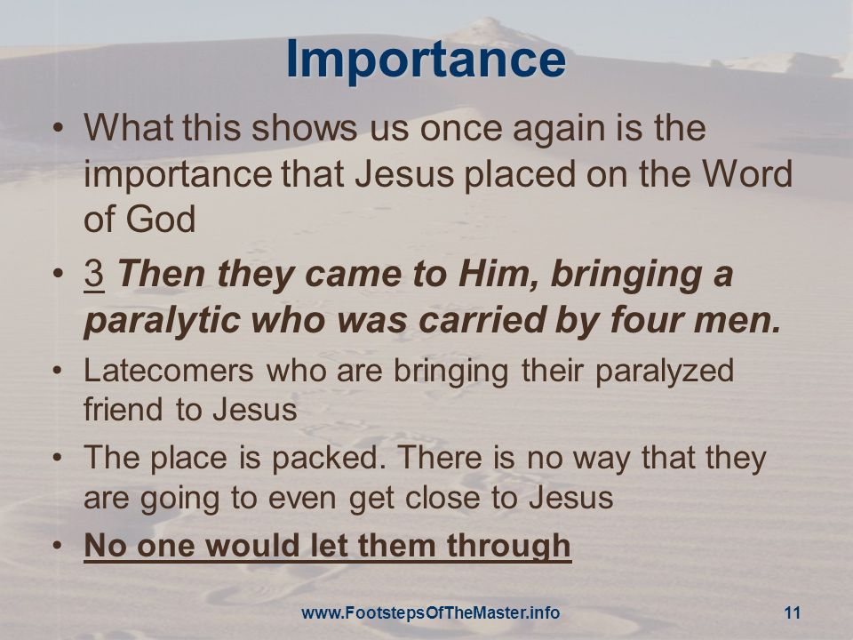 Importance What this shows us once again is the importance that Jesus placed on the Word of God.