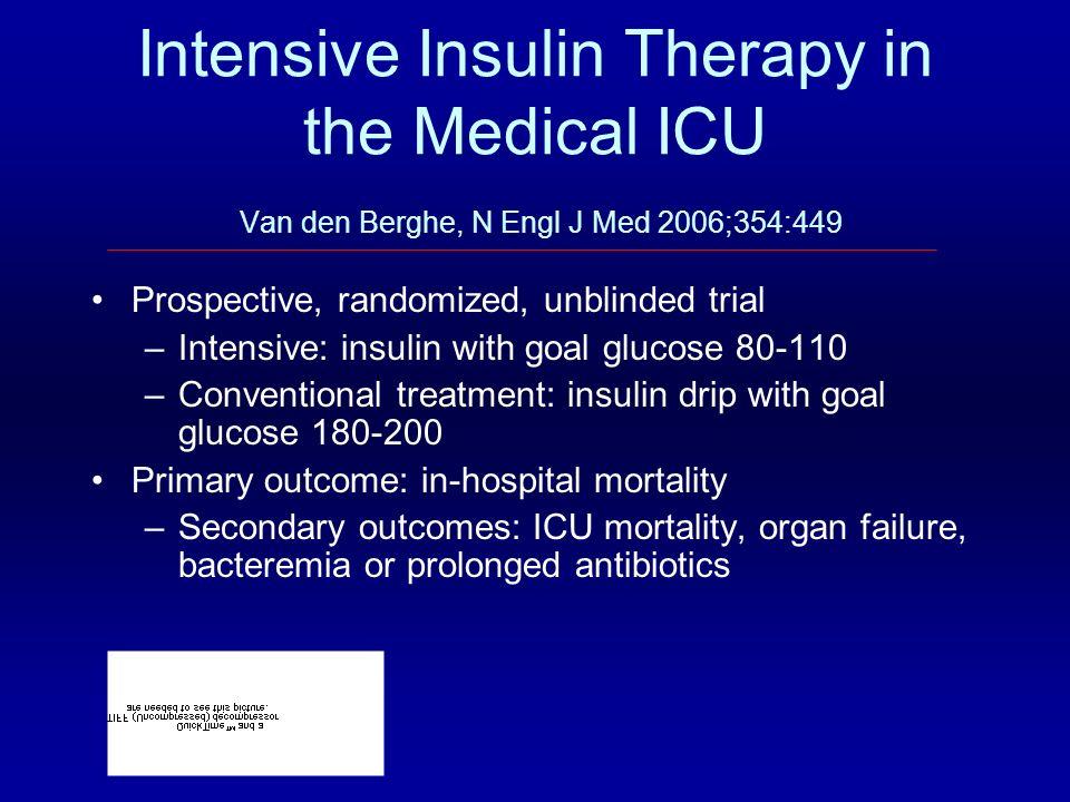 Intensive Insulin Therapy in the Medical ICU Van den Berghe, N Engl J Med 2006;354:449