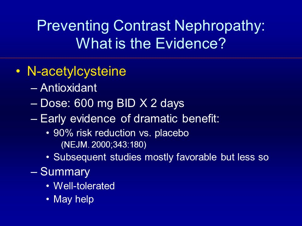 Preventing Contrast Nephropathy: What is the Evidence