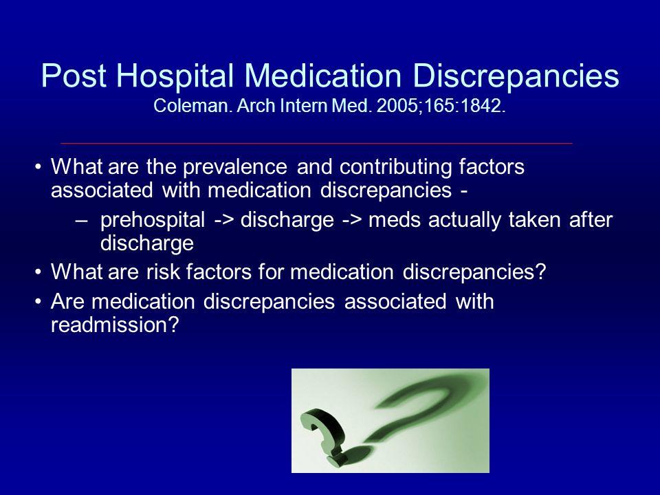 Post Hospital Medication Discrepancies Coleman. Arch Intern Med