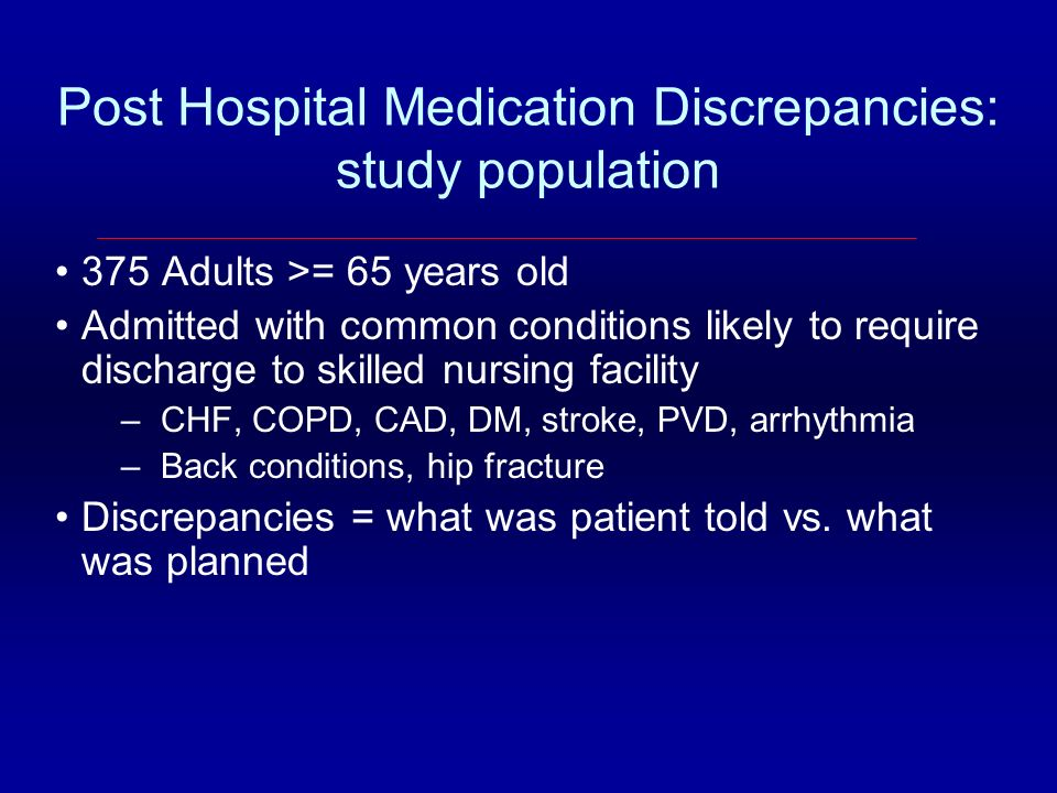 Post Hospital Medication Discrepancies: study population