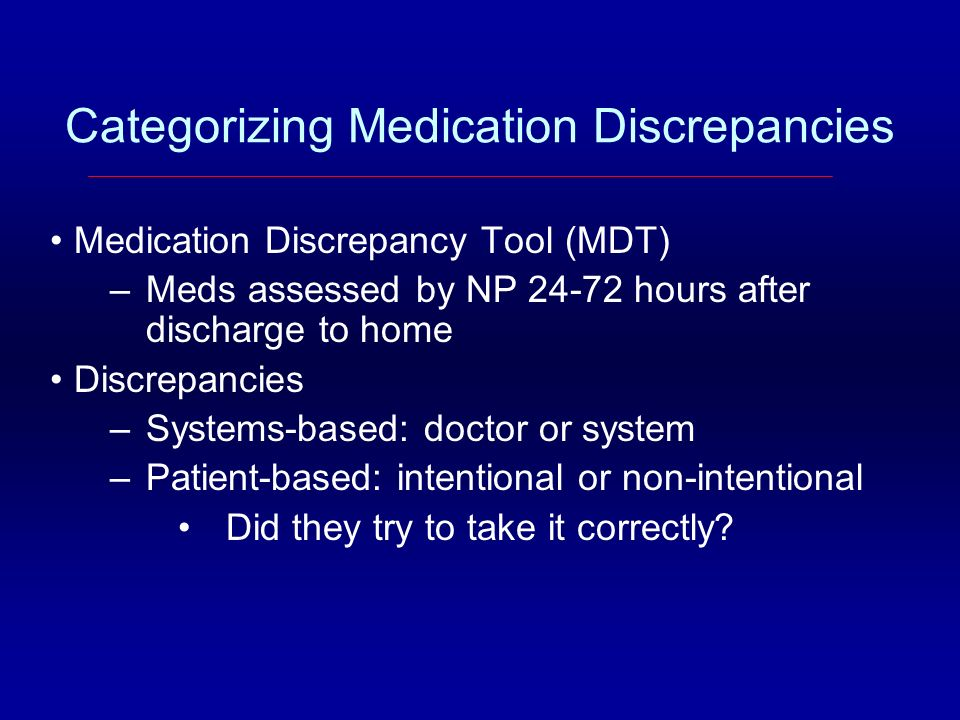 Categorizing Medication Discrepancies