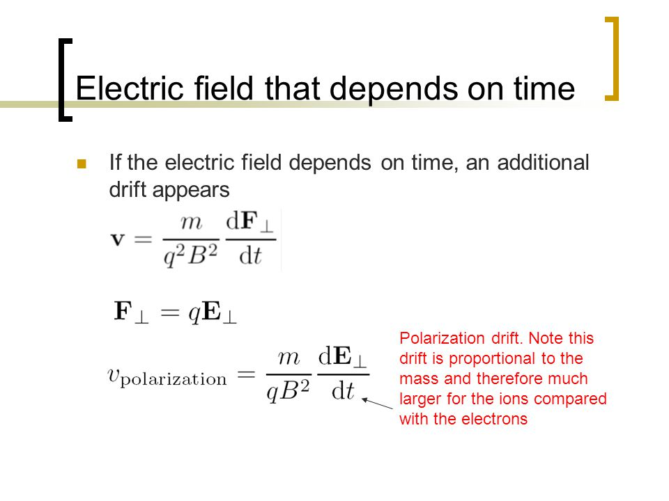 Electric field that depends on time