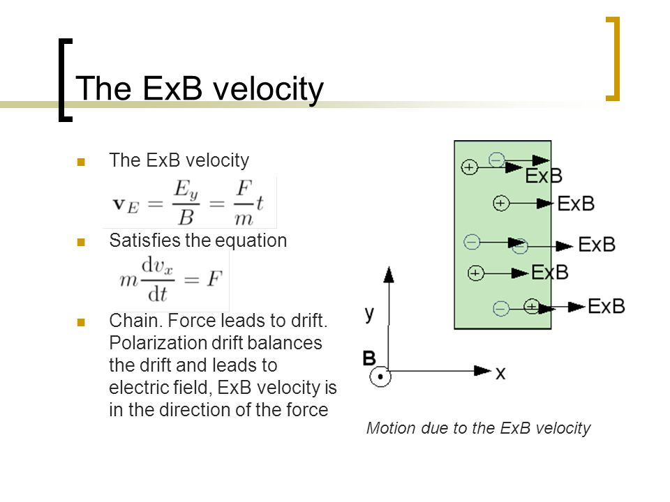 The ExB velocity The ExB velocity Satisfies the equation