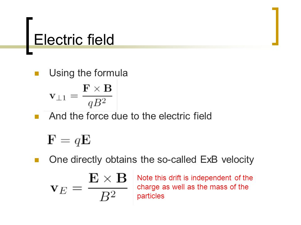 Electric field Using the formula