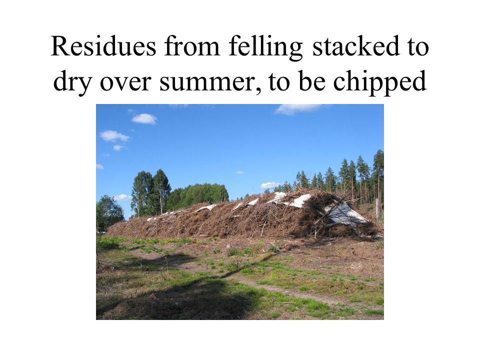 Residues from felling stacked to dry over summer, to be chipped