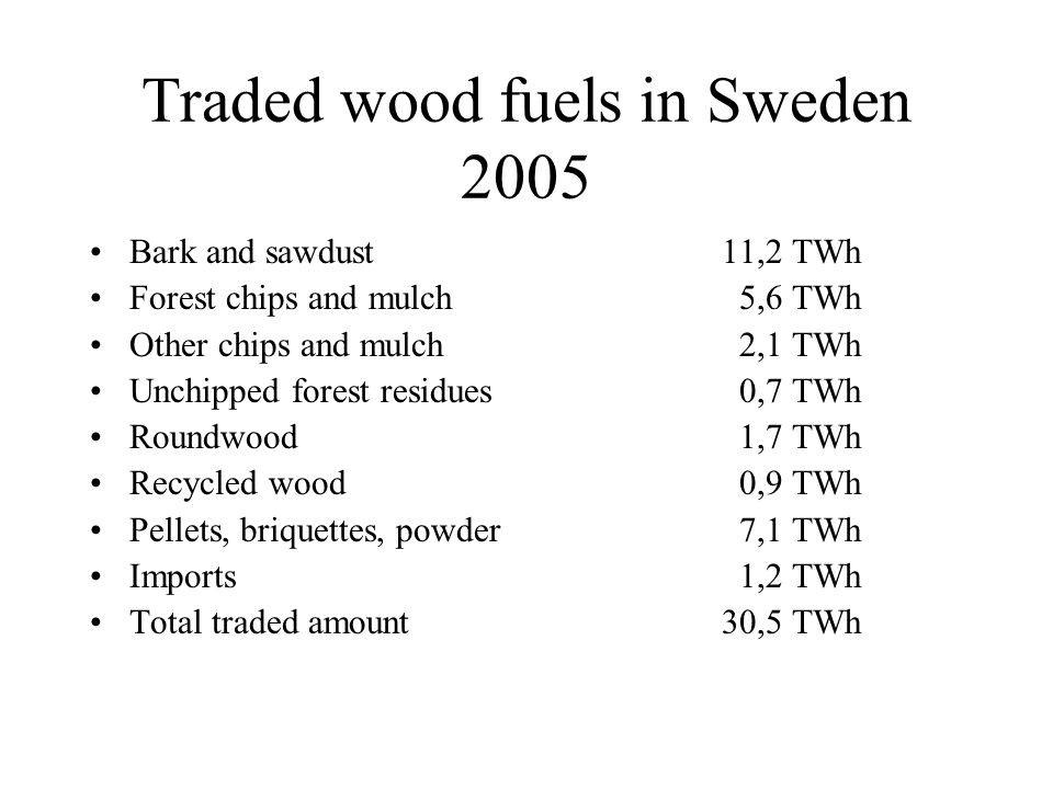 Traded wood fuels in Sweden 2005