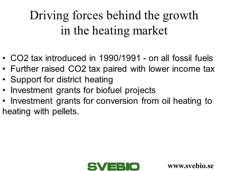 Driving forces behind the growth in the heating market